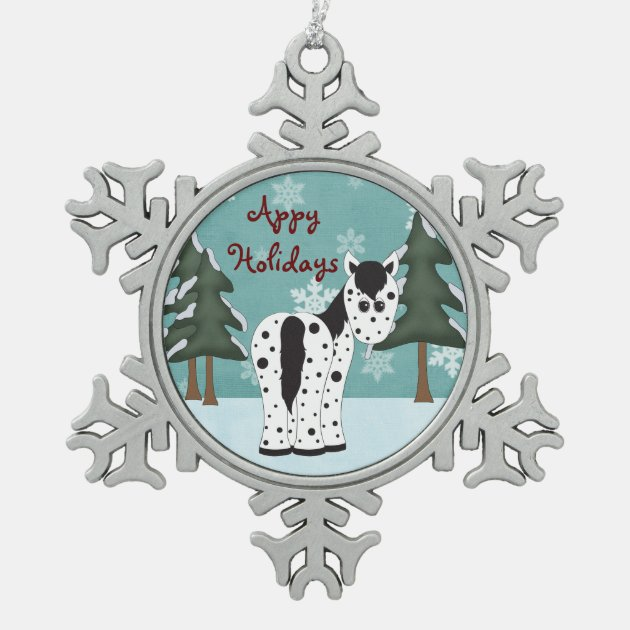 Cute Appy Holidays Leopard Appaloosa Horse Snowflake Pewter Christmas Ornament Zazzle Com