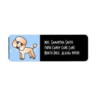 Cute Apricot  Poodle Cartoon Blue Return Address Labels