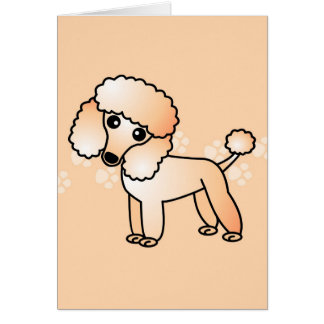 Cute Apricot  Poodle Cartoon Greeting Card