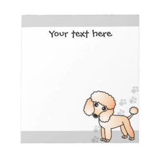 Cute Apricot Poodle Cartoon Grey Paw Print Notepad