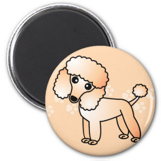 Cute Apricot  Poodle Cartoon Magnet