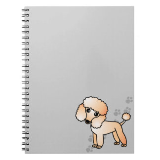 Cute Apricot Poodle Cartoon with Grey Paw Print Spiral Notebook