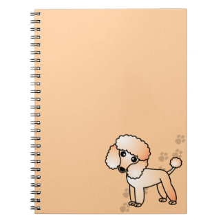 Cute Apricot Poodle Cartoon with Paw Print Notebook