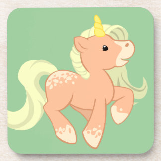 Cute Apricot Unicorn Drink Coaster