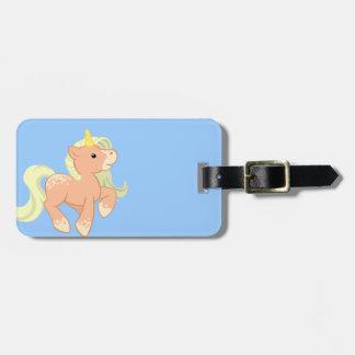 Cute Apricot Unicorn Travel Bag Tag