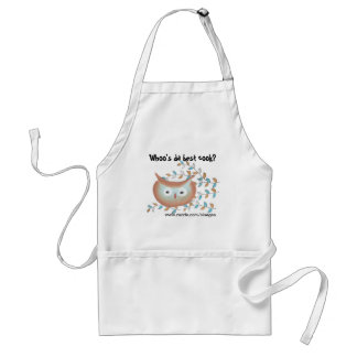 Cute Apron Owl Picture in Brown & Teal