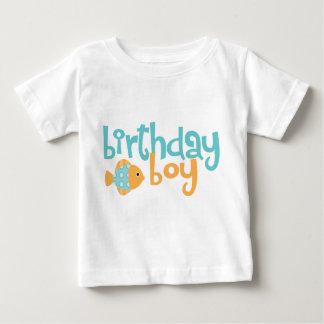 Cute Aqua and Orange Fish Birthday Boy Baby T-Shirt