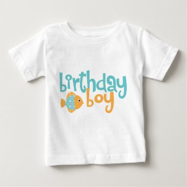 heartlocked Cute Aqua and Orange Fish Birthday Boy Baby T-Shirt