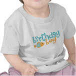 Cute Aqua and Orange Fish Birthday Boy T-shirts