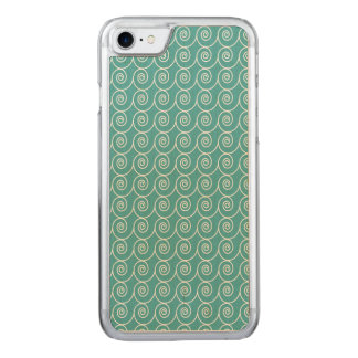 Cute Aqua and White Curlie Cue Pattern Carved iPhone 8/7 Case
