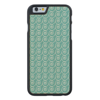 Cute Aqua and White Curlie Cue Pattern Carved Maple iPhone 6 Slim Case