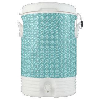 Cute Aqua and White Curlie Cue Pattern Igloo Beverage Cooler