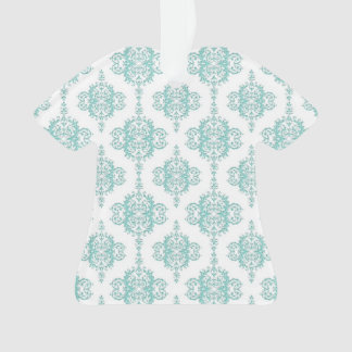 Cute Aqua and White Vintage Damask Pattern Ornament