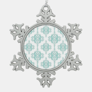Cute Aqua and White Vintage Damask Pattern Snowflake Pewter Christmas Ornament