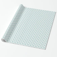 Cute Aqua and White Vintage Damask Pattern Wrapping Paper