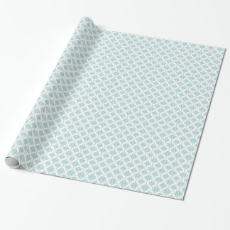 Cute Aqua and White Vintage Damask Pattern Gift Wrap Paper