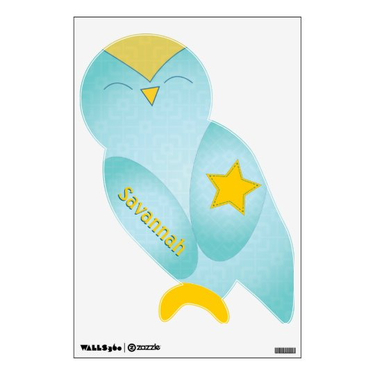 Cute Aqua and Yellow Owl Pattern Wall Decal