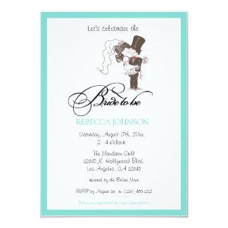 "Cute aqua blue ""Bride to be"" Bridal shower invites"