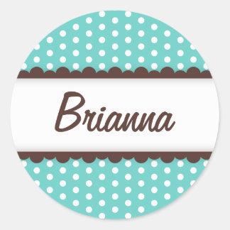 Cute aqua blue brown polka dots name tag for girls