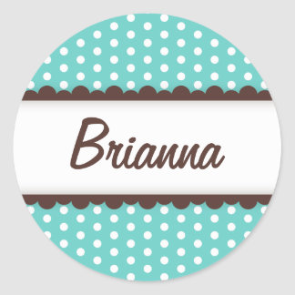 Cute aqua blue brown polka dots name tag for girls classic round sticker