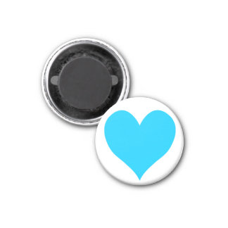 Cute Aqua Blue Heart 1 Inch Round Magnet