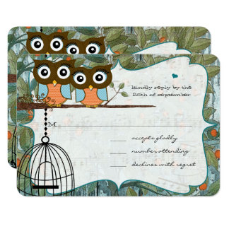 Cute Aqua Blue Owl Marry My Best Friend Wedding Card