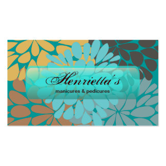 Cute Aqua Brown Gold Floral Vector Business Cards