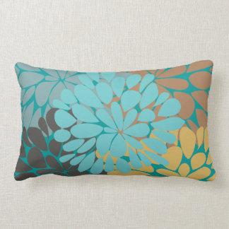 Cute Aqua Brown Gold Floral Vector Pillows
