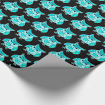 Cute aqua cartoon owl pattern for any occasion wrapping paper