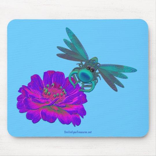 Cute Aqua Dragonfly On Flower Mousepad