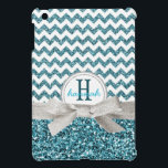 "Cute Aqua Faux Glitter Chevron with Monogram iPad Mini Case<br><div class=""desc"">Perfect for the girly girl who loves glittery, girly things and pretty colors! Bold zig zag pattern in white and a pretty turquoise aqua blue colored glitter effect background on top, divided by a pretty silver gray colored ribbon tied in a dainty bow, and a double ringed white and silver...</div>"