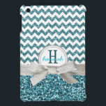 """Cute Aqua Faux Glitter Chevron with Monogram iPad Mini Case<br><div class=""""desc"""">Perfect for the girly girl who loves glittery, girly things and pretty colors! Bold zig zag pattern in white and a pretty turquoise aqua blue colored glitter effect background on top, divided by a pretty silver gray colored ribbon tied in a dainty bow, and a double ringed white and silver...</div>"""