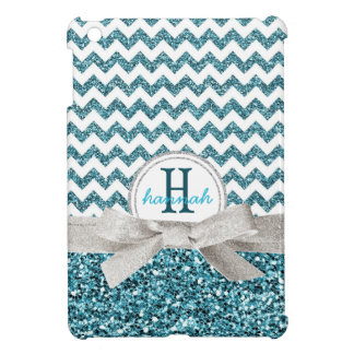 Cute Aqua Faux Glitter Chevron with Monogram iPad Mini Case