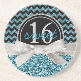 Cute Aqua Glitter Look Chevron Sweet 16th Drink Coaster