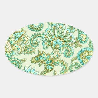 Cute Aqua Gold Paisley Floral Pattern Oval Sticker