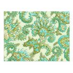 Cute Aqua Gold Paisley Floral Pattern Postcard