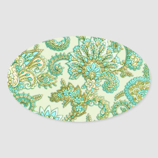 Cute Aqua Gold Paisley Floral Pattern Oval Stickers