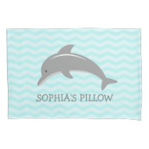 Cute aqua grey dolphin kids bedroom pillowcase