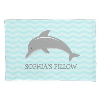 Cute aqua grey dolphin kids bedroom pillowcase