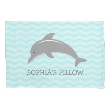 Beach Themed Cute aqua grey dolphin kids bedroom pillowcase