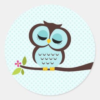Cute Aqua Owl Classic Round Sticker