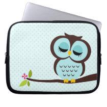 Cute Aqua Owl Computer Sleeve