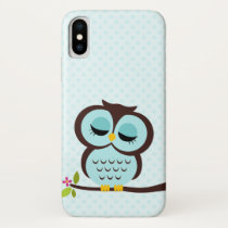 Cute Aqua Owl iPhone X Case