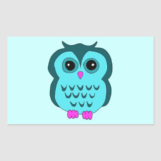 Cute Aqua Owl Pink Feet Rectangular Sticker