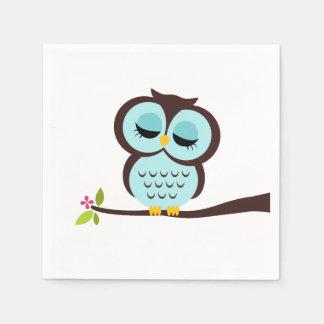 Cute Aqua Owl Paper Napkin