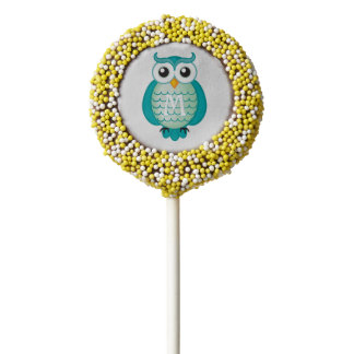 Cute Aqua Owl with Name Chocolate Covered Oreo Pop