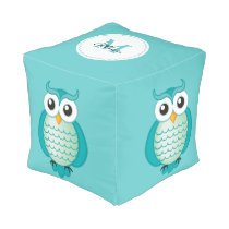 Cute Aqua Owls with Monogram Pouf