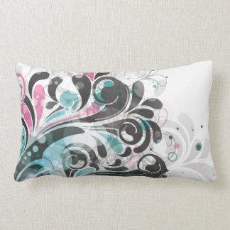 Cute Aqua Pink Floral Vector Pillow