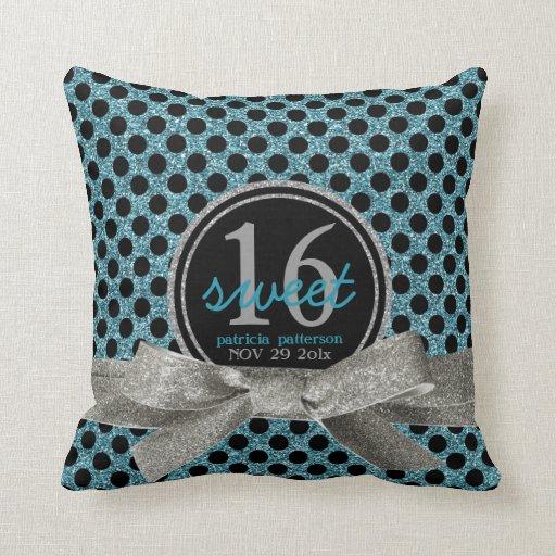 Cute Aqua Throw Pillows : Cute Aqua Polkadots Sweet 16 Personalized Throw Pillow Zazzle