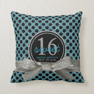 Cute Aqua Polkadots Sweet 16 Personalized Throw Pillow